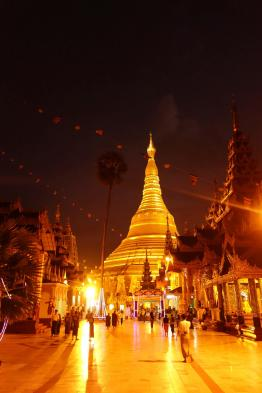 The Shwedagon Paya at night from the north gate