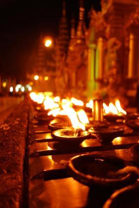 Lights at Shwedagon Paya