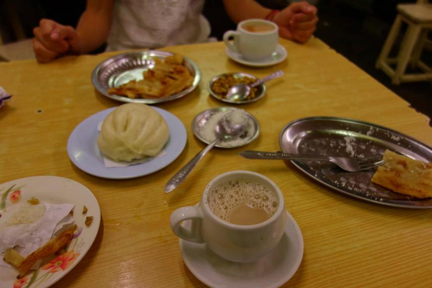 At the teahouse in Yangon Downtown