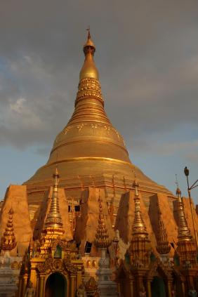 Shwedagon Paya with the small stupas under renovation
