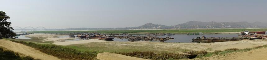 View of Ayeyarwady river and Sagaing hill