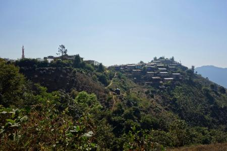 Small village holding to the hill