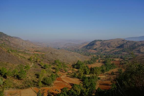 Myanmar landscape during the last day of trekking