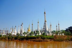 Pagodas along the canal leading to Inle Lake