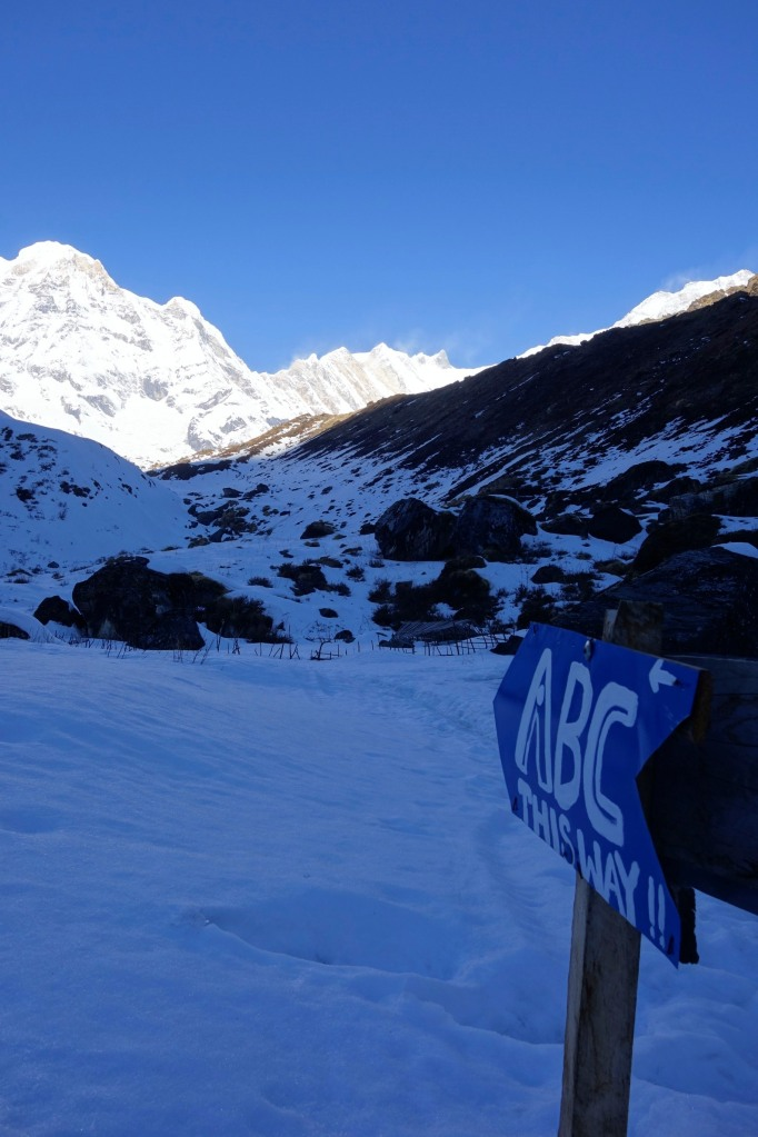 D day, let's go!!!. We climb up to Annapurna Base Camp (ABC) at 4130m