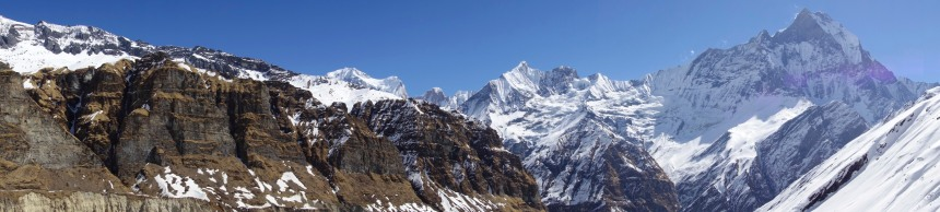 When you turn your back, best view on the Moraine cliffs on the left created by the glacier, Macchapuchhere on the right and Gandharwa Chulli (6248m) on the middle