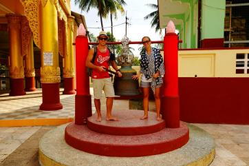 Us ringing the bell of Shwemawdaw Paya