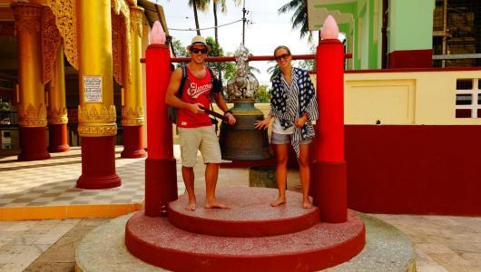 Us ringing the bell of Shwemawdaw Paya