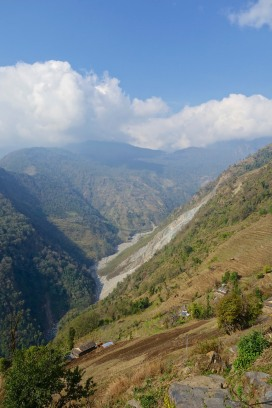 Overlooking the valley and Jhinudanda