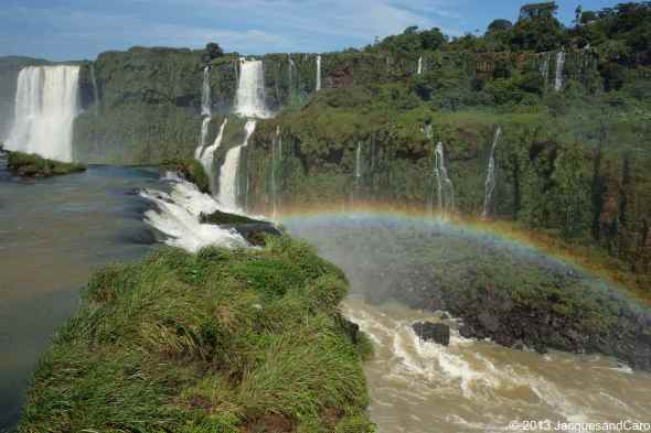 THe Iguazu river just below us and a beautiful rainbow