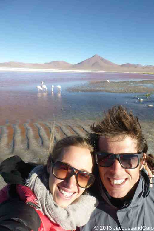 Us in Bolivia in front of the Laguna Colorada