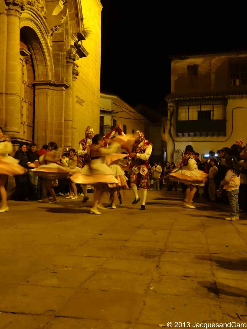 Traditional spectacle in front of San Pedro church showing how catholicism has used the traditional inca ceremonies to impose the new religion over them.