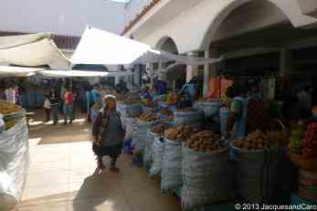 Inside the market, vegetables section