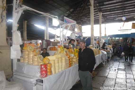 Jacques at the Cheese stalls in San Pedro market