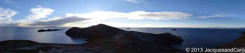 Panoramic of the north end of Isla del Sol