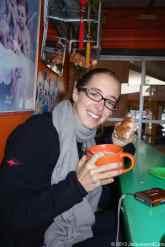 Caroline at breakfast time