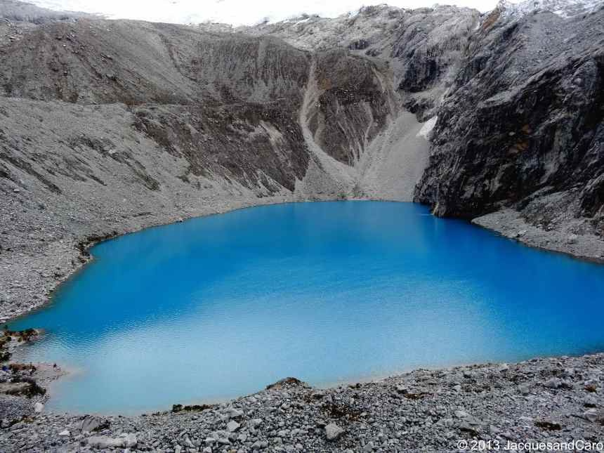 The laguna 69, quite blue in this grey and white landscape