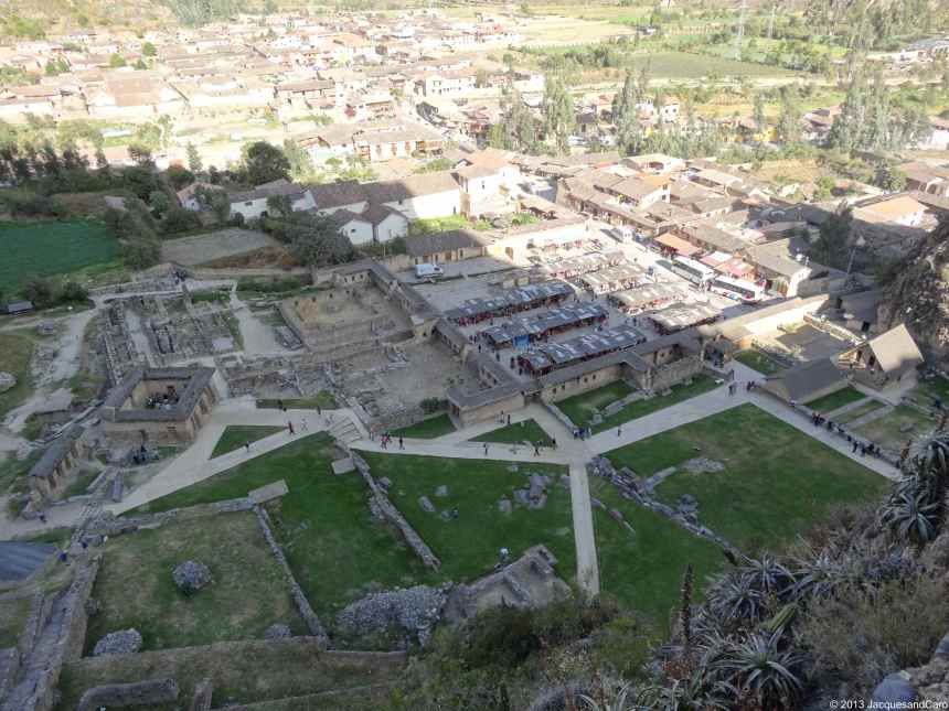 The village of Ollantaytambo view from the temple hill
