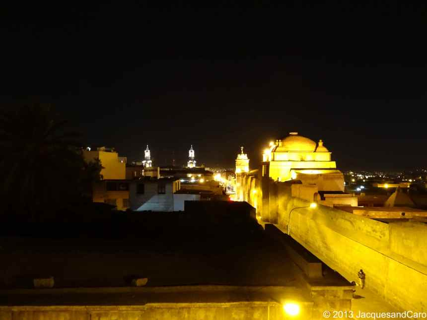 "City view from our hostel: the two ""towers"" on the left belong to Arequipa cathedral and the lighted church on the right belongs to Santa Catalina Couvent"