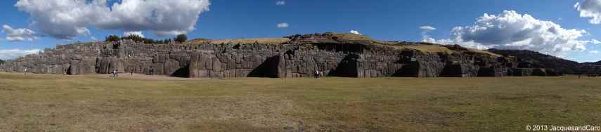 The impressive terrace wall of Saqsayhuaman with stones precisly fitted together