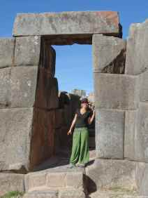 Caroline at Saqsayhuaman site with this impressive door