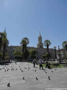 La plaza de las armas with the Basilica cathedral of Arequipa.