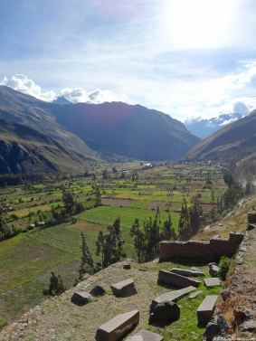 On the right of the picture, the Ollantaytambo site, on the middle the valley where the Urubamba river flows and on the left side the quarry from where the Incas extracted the massive blocks of stones