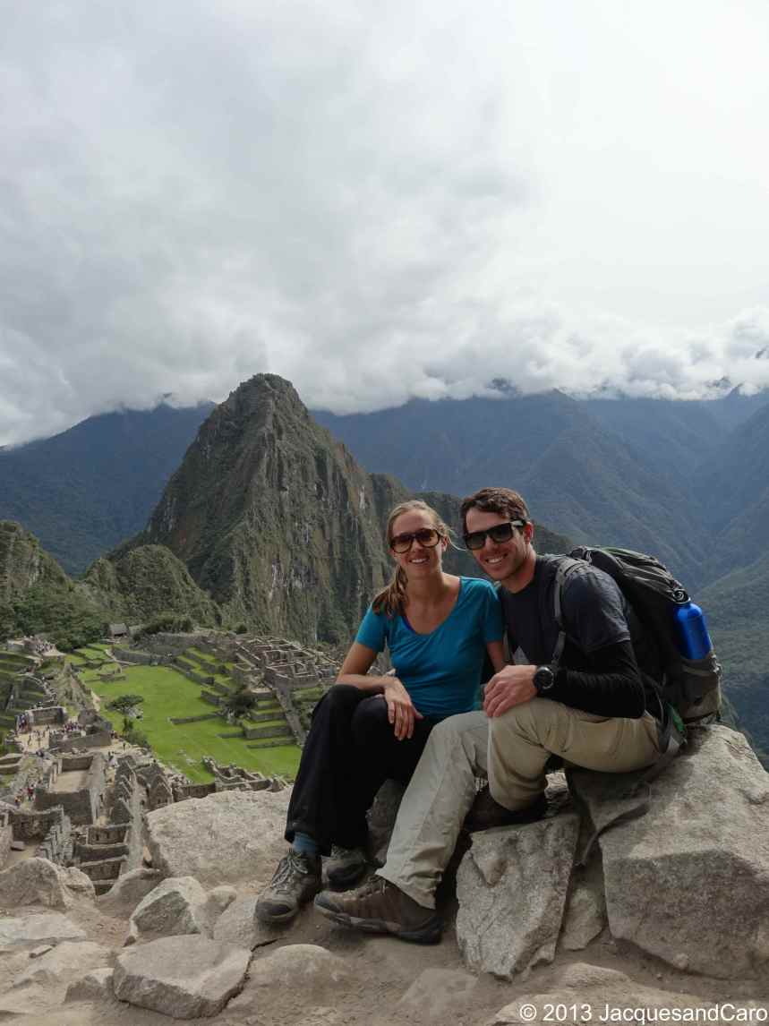 Us from the traditional photo shot point of Machupicchu site