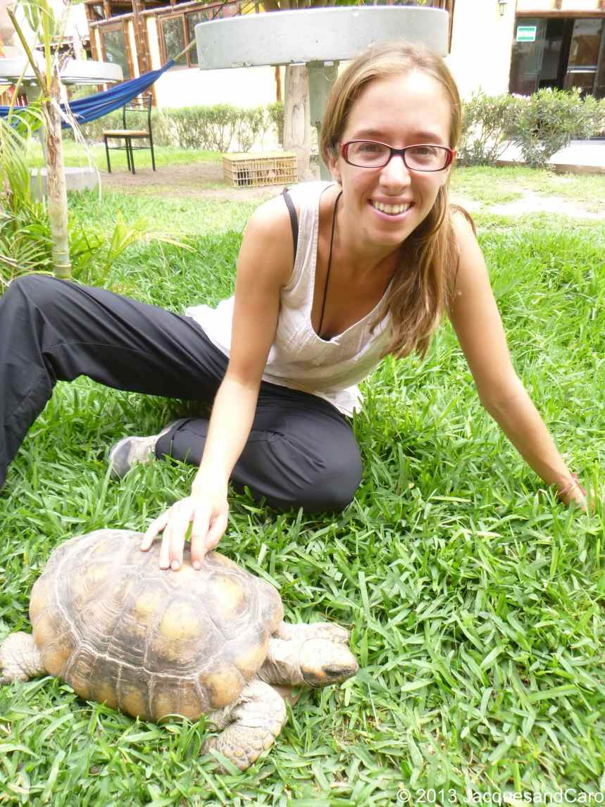 Caroline and her friend, Caroline the turtle.