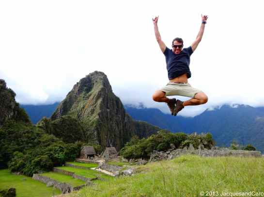 Jacques jumping in front of Huyana Picchu