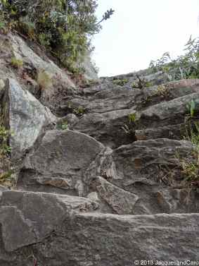 View of the steps leading to Machupicchu mountain