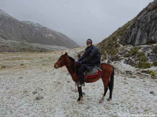 Caroline on the horse under the hail storm