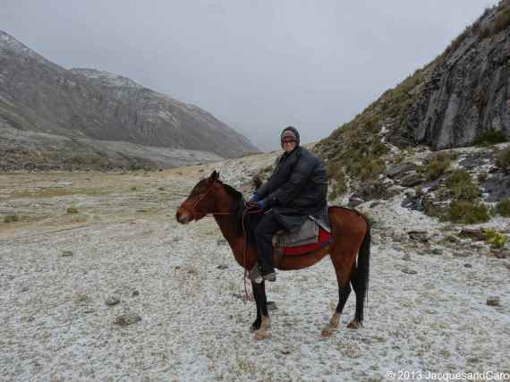 Caroline on the horse under the hail storm