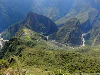Overview onto the valley from the top of Machupicchu mountain