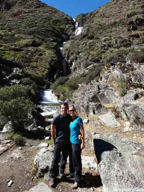 Us with in background a water fall