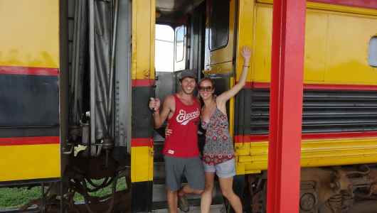 Us before boarding the train