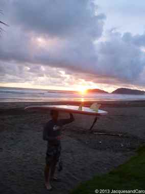 Jacques back from his surf lesson in Jaco