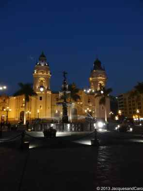 Lima cathedral by night still on plaza mayor
