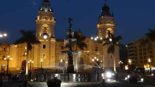 Lima cathedral by night still on plaza mayor