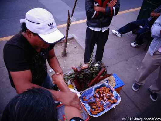 Street vendor selling strange food...