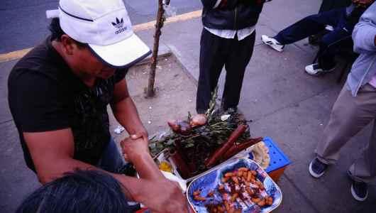Street vendor selling strange food...