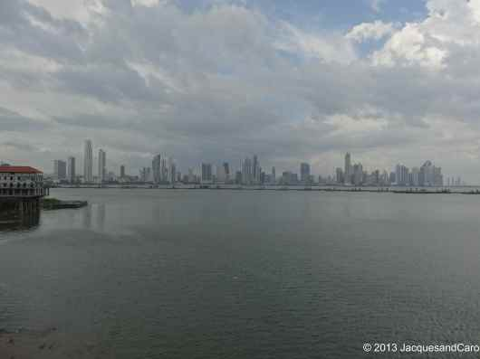 View from Casco Viejo on the new city centre with in between the construction of a new highway