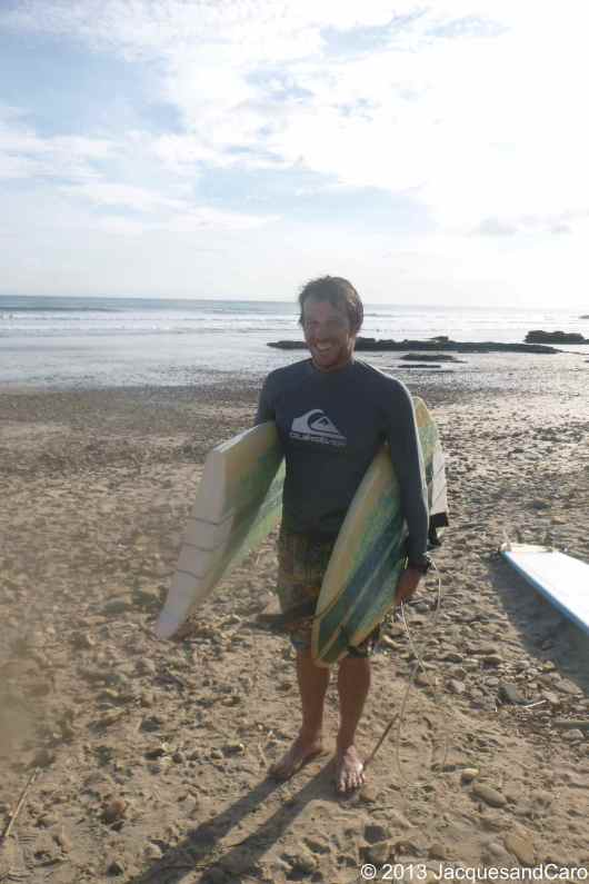 Jacques and two parts of what was one surf board...