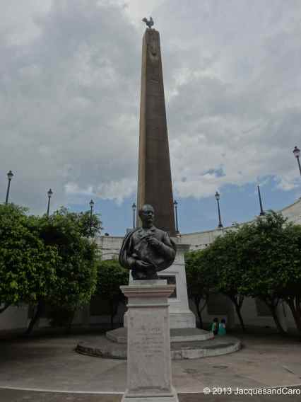 Leon Boyer statue (frenchman in charge of executing the canal digging) and the roaster on top of the obelisque in Casco Viejo