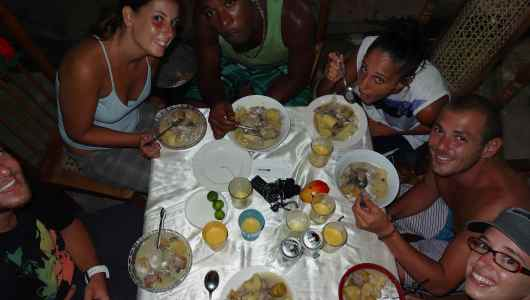 Run-down session in San Juan del Sur (typical Nicaragua dish) made by Dennis our friend from Corn Island...