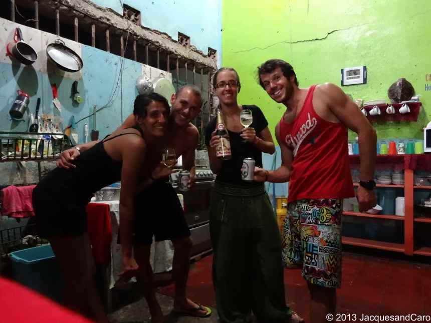 First evening in Nicaragua for the four of us as we just met Aicha and J-B at the border of Costa RIca