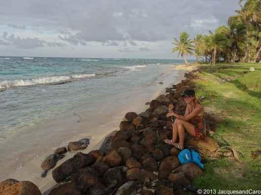Caroline enjoying a coconut bread… so tasty. on the north part of the island