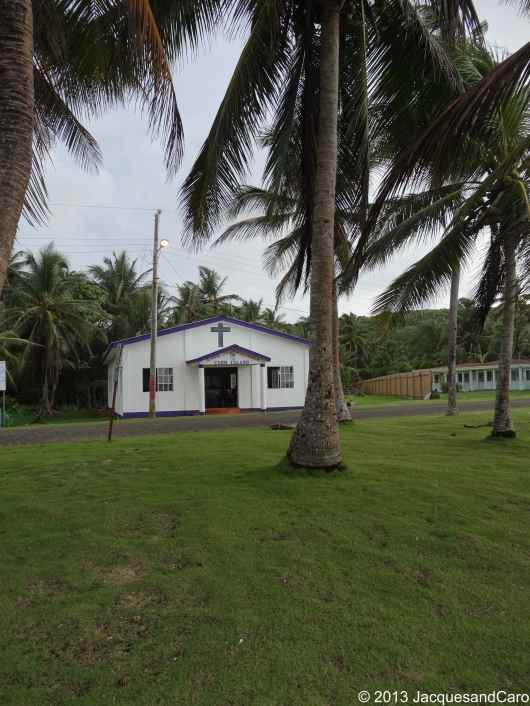 Church, coconut tree...