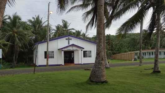 Church, coconut tree...