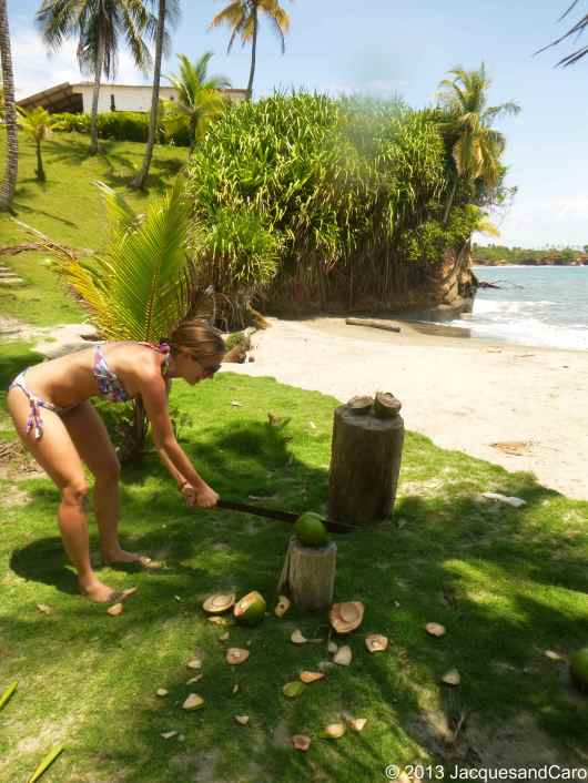 Caroline chopping her coconut…dangerous...